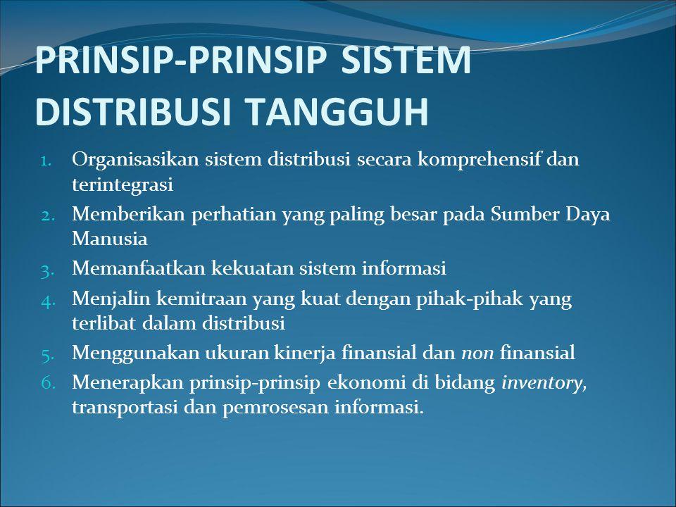 PRINSIP-PRINSIP SISTEM DISTRIBUSI TANGGUH 1. Organisasikan sistem distribusi secara komprehensif dan terintegrasi 2. Memberikan perhatian yang paling