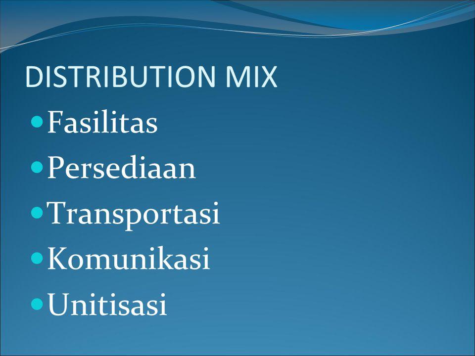 DISTRIBUTION MIX Fasilitas Persediaan Transportasi Komunikasi Unitisasi