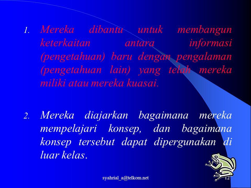 syahrial_a@telkom.net12 1. Mereka dibantu untuk membangun keterkaitan antara informasi (pengetahuan) baru dengan pengalaman (pengetahuan lain) yang te