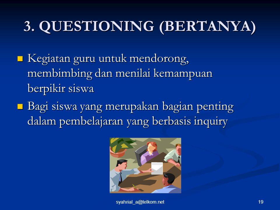 19syahrial_a@telkom.net 3. QUESTIONING (BERTANYA) Kegiatan guru untuk mendorong, membimbing dan menilai kemampuan berpikir siswa Bagi siswa yang merup