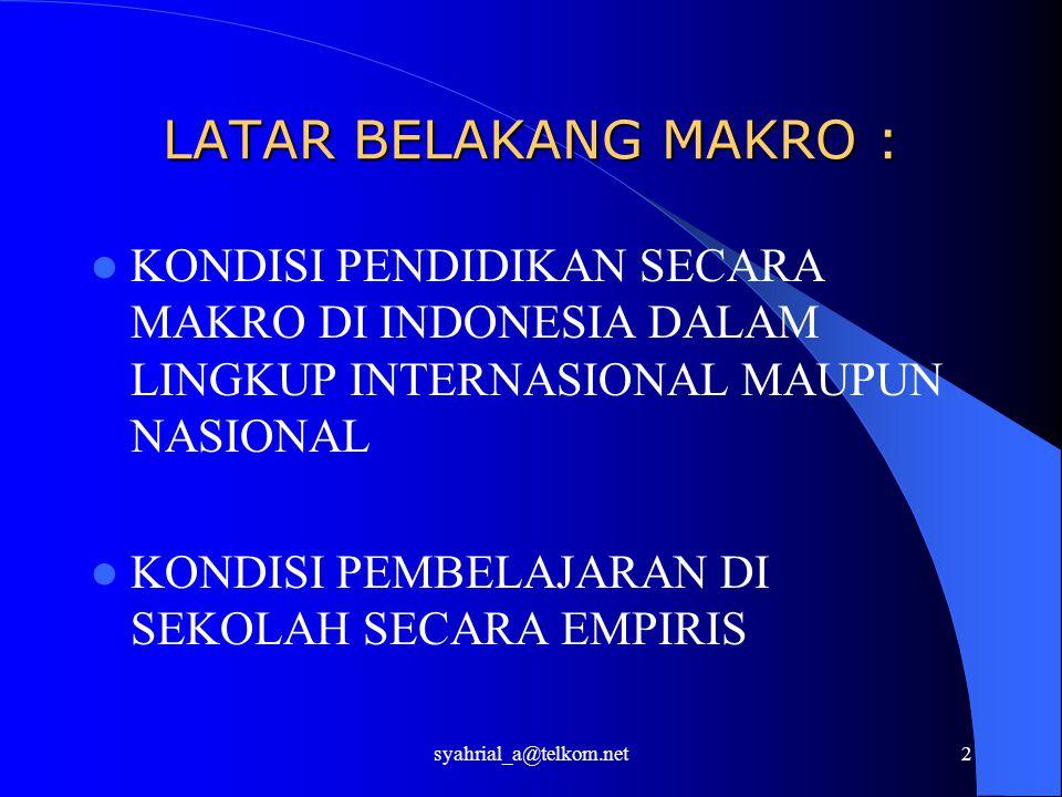 syahrial_a@telkom.net2 LATAR BELAKANG MAKRO : KONDISI PENDIDIKAN SECARA MAKRO DI INDONESIA DALAM LINGKUP INTERNASIONAL MAUPUN NASIONAL KONDISI PEMBELAJARAN DI SEKOLAH SECARA EMPIRIS