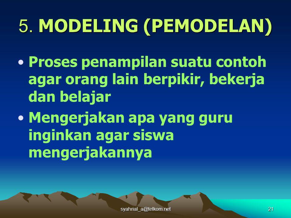 syahrial_a@telkom.net21 5. MODELING (PEMODELAN) Proses penampilan suatu contoh agar orang lain berpikir, bekerja dan belajar Mengerjakan apa yang guru