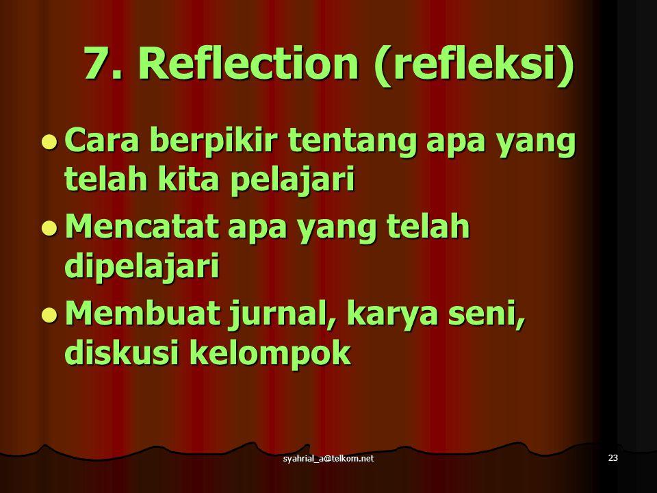 syahrial_a@telkom.net 23 7. Reflection (refleksi) Cara berpikir tentang apa yang telah kita pelajari Cara berpikir tentang apa yang telah kita pelajar
