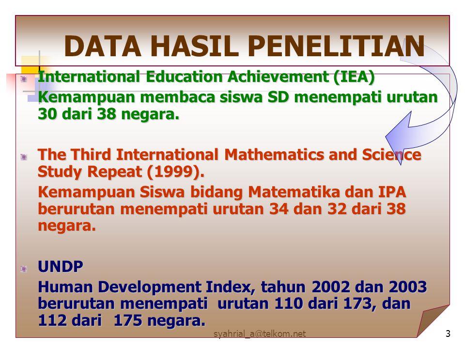 syahrial_a@telkom.net3 International Education Achievement (IEA) Kemampuan membaca siswa SD menempati urutan 30 dari 38 negara. The Third Internationa