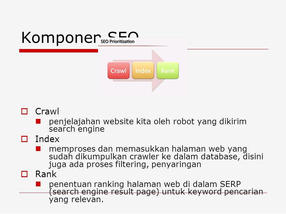 Komponen SEO  Crawl penjelajahan website kita oleh robot yang dikirim search engine  Index memproses dan memasukkan halaman web yang sudah dikumpulkan crawler ke dalam database, disini juga ada proses filtering, penyaringan  Rank penentuan ranking halaman web di dalam SERP (search engine result page) untuk keyword pencarian yang relevan.