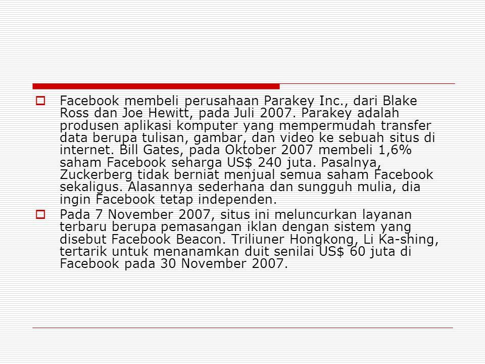  Facebook membeli perusahaan Parakey Inc., dari Blake Ross dan Joe Hewitt, pada Juli 2007.