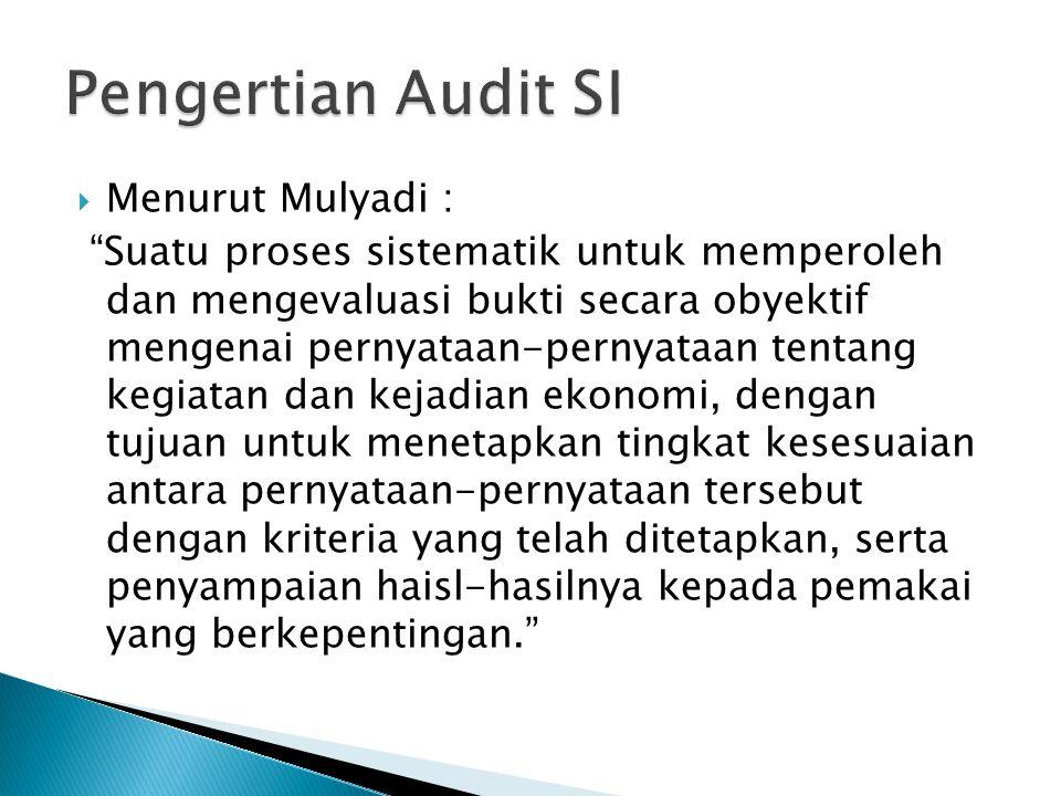 " Menurut Mulyadi : ""Suatu proses sistematik untuk memperoleh dan mengevaluasi bukti secara obyektif mengenai pernyataan-pernyataan tentang kegiatan d"