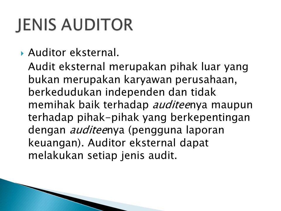  Auditor eksternal. Audit eksternal merupakan pihak luar yang bukan merupakan karyawan perusahaan, berkedudukan independen dan tidak memihak baik ter