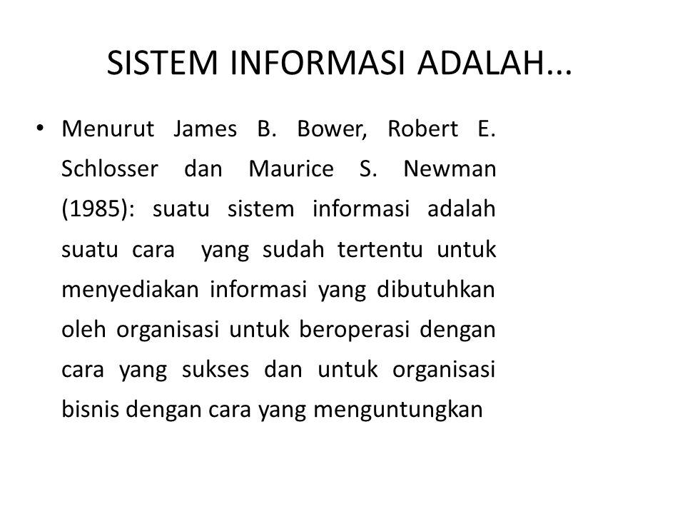Menurut James B. Bower, Robert E. Schlosser dan Maurice S. Newman (1985): suatu sistem informasi adalah suatu cara yang sudah tertentu untuk menyediak