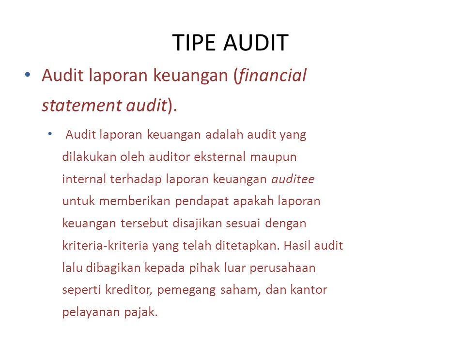 Audit laporan keuangan (financial statement audit). Audit laporan keuangan adalah audit yang dilakukan oleh auditor eksternal maupun internal terhadap