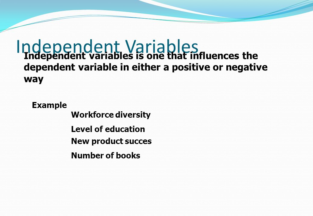 Independent Variables Independent variables is one that influences the dependent variable in either a positive or negative way Example Workforce diver