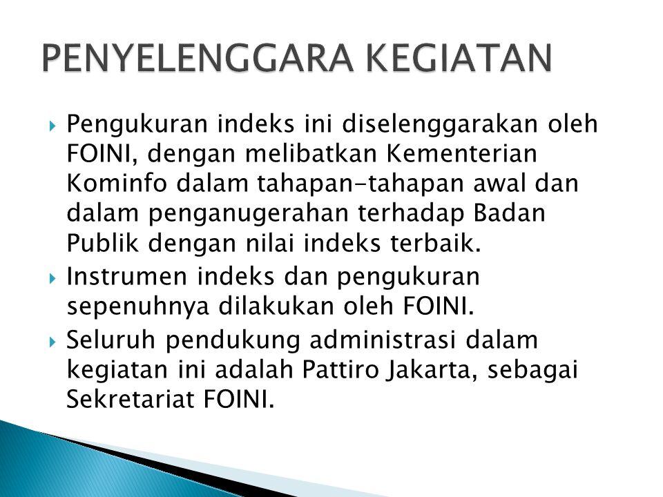  Pengukuran indeks ini diselenggarakan oleh FOINI, dengan melibatkan Kementerian Kominfo dalam tahapan-tahapan awal dan dalam penganugerahan terhadap Badan Publik dengan nilai indeks terbaik.