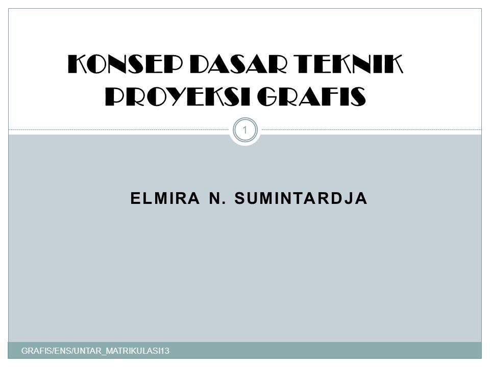 ELMIRA N. SUMINTARDJA GRAFIS/ENS/UNTAR_MATRIKULASI13 1 KONSEP DASAR TEKNIK PROYEKSI GRAFIS