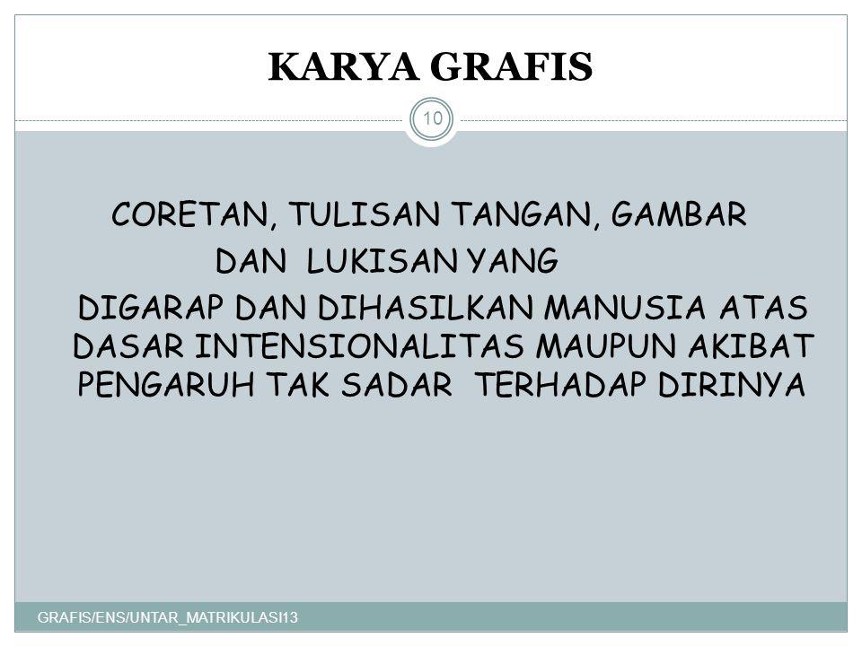 KARYA GRAFIS GRAFIS/ENS/UNTAR_MATRIKULASI13 10 CORETAN, TULISAN TANGAN, GAMBAR DAN LUKISAN YANG DIGARAP DAN DIHASILKAN MANUSIA ATAS DASAR INTENSIONALITAS MAUPUN AKIBAT PENGARUH TAK SADAR TERHADAP DIRINYA