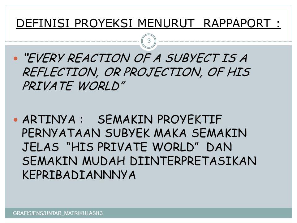 DEFINISI PROYEKSI MENURUT RAPPAPORT : GRAFIS/ENS/UNTAR_MATRIKULASI13 3 EVERY REACTION OF A SUBYECT IS A REFLECTION, OR PROJECTION, OF HIS PRIVATE WORLD ARTINYA : SEMAKIN PROYEKTIF PERNYATAAN SUBYEK MAKA SEMAKIN JELAS HIS PRIVATE WORLD DAN SEMAKIN MUDAH DIINTERPRETASIKAN KEPRIBADIANNNYA