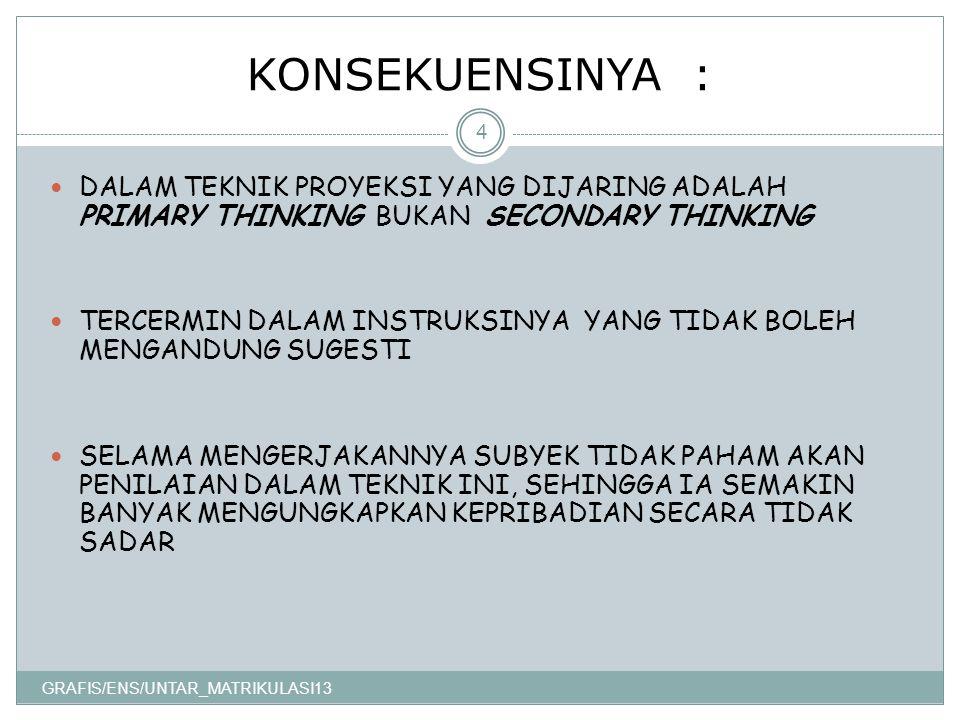 KONSEKUENSINYA : GRAFIS/ENS/UNTAR_MATRIKULASI13 4 DALAM TEKNIK PROYEKSI YANG DIJARING ADALAH PRIMARY THINKING BUKAN SECONDARY THINKING TERCERMIN DALAM INSTRUKSINYA YANG TIDAK BOLEH MENGANDUNG SUGESTI SELAMA MENGERJAKANNYA SUBYEK TIDAK PAHAM AKAN PENILAIAN DALAM TEKNIK INI, SEHINGGA IA SEMAKIN BANYAK MENGUNGKAPKAN KEPRIBADIAN SECARA TIDAK SADAR