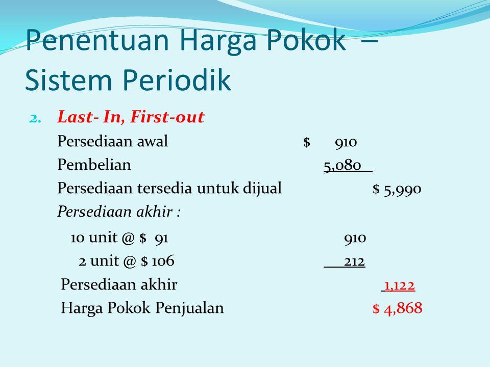 Penentuan Harga Pokok – Sistem Periodik 2. Last- In, First-out Persediaan awal $ 910 Pembelian 5,080 Persediaan tersedia untuk dijual $ 5,990 Persedia