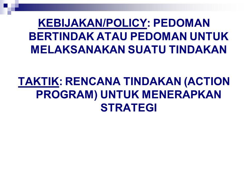 KEBIJAKAN/POLICY: PEDOMAN BERTINDAK ATAU PEDOMAN UNTUK MELAKSANAKAN SUATU TINDAKAN TAKTIK: RENCANA TINDAKAN (ACTION PROGRAM) UNTUK MENERAPKAN STRATEGI