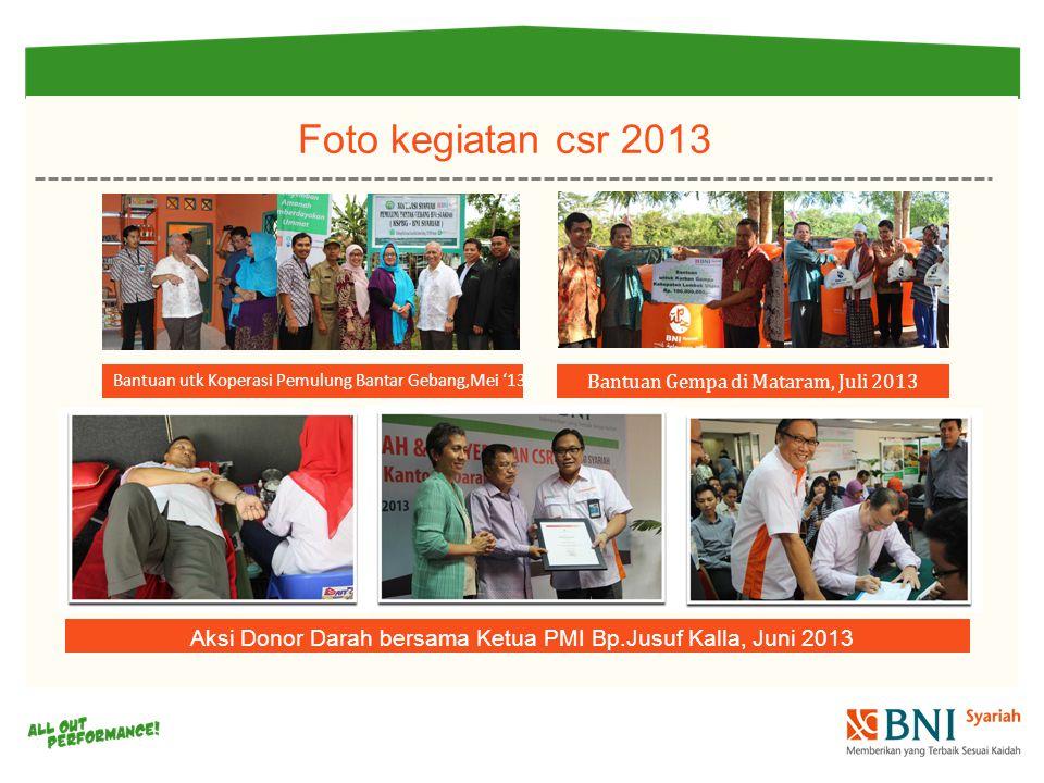 Bantuan Gempa di Mataram, Juli 2013 Aksi Donor Darah bersama Ketua PMI Bp.Jusuf Kalla, Juni 2013 Bantuan utk Koperasi Pemulung Bantar Gebang,Mei '13 Foto kegiatan csr 2013