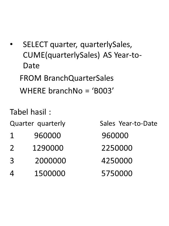 OLAP17/16 SELECT quarter, quarterlySales, CUME(quarterlySales) AS Year-to- Date FROM BranchQuarterSales WHERE branchNo = 'B003' Tabel hasil : Quarter