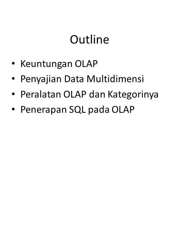 2/16 Outline Keuntungan OLAP Penyajian Data Multidimensi Peralatan OLAP dan Kategorinya Penerapan SQL pada OLAP