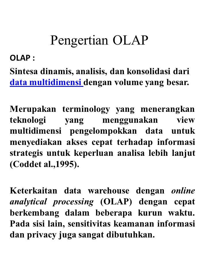 OLAP : Sintesa dinamis, analisis, dan konsolidasi dari data multidimensi dengan volume yang besar. data multidimensi Merupakan terminology yang menera