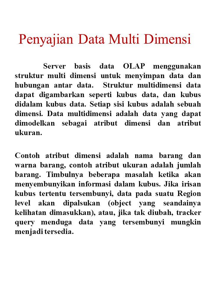 Server basis data OLAP menggunakan struktur multi dimensi untuk menyimpan data dan hubungan antar data.