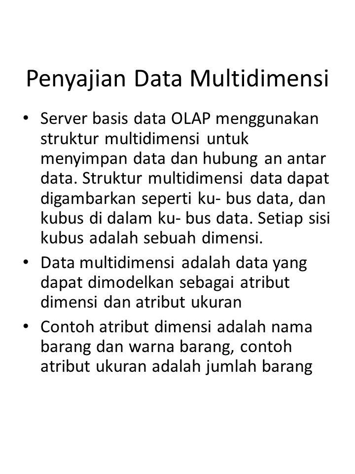 OLAP9/16 Penyajian Data Multidimensi Server basis data OLAP menggunakan struktur multidimensi untuk menyimpan data dan hubung an antar data. Struktur