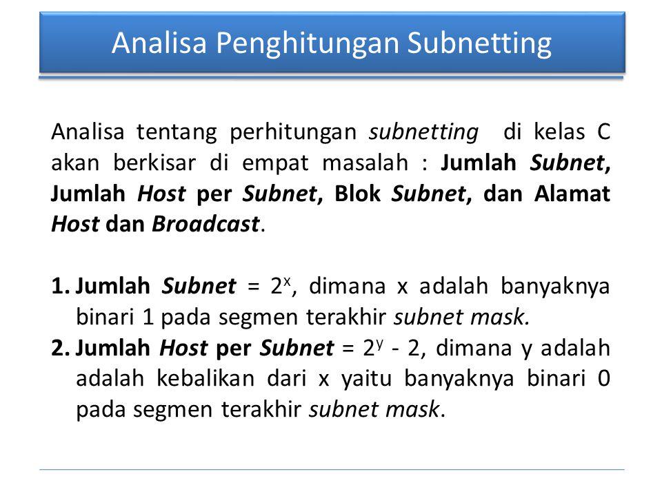 Analisa Penghitungan Subnetting Analisa tentang perhitungan subnetting di kelas C akan berkisar di empat masalah : Jumlah Subnet, Jumlah Host per Subn