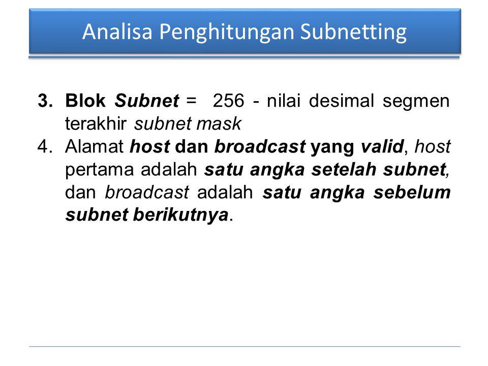 Analisa Penghitungan Subnetting 3.Blok Subnet = 256 - nilai desimal segmen terakhir subnet mask 4.Alamat host dan broadcast yang valid, host pertama a