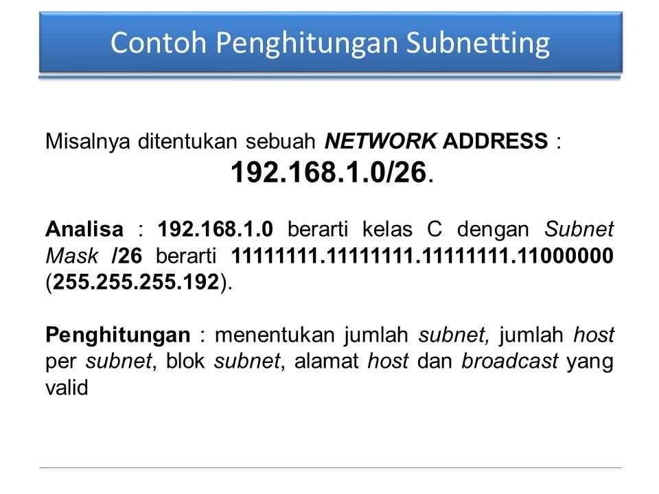 Contoh Penghitungan Subnetting Misalnya ditentukan sebuah NETWORK ADDRESS : 192.168.1.0/26. Analisa : 192.168.1.0 berarti kelas C dengan Subnet Mask /