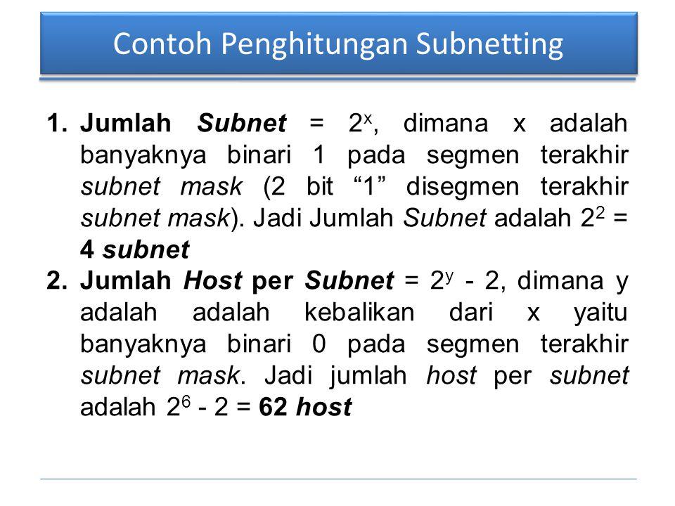 "Contoh Penghitungan Subnetting 1.Jumlah Subnet = 2 x, dimana x adalah banyaknya binari 1 pada segmen terakhir subnet mask (2 bit ""1"" disegmen terakhir"