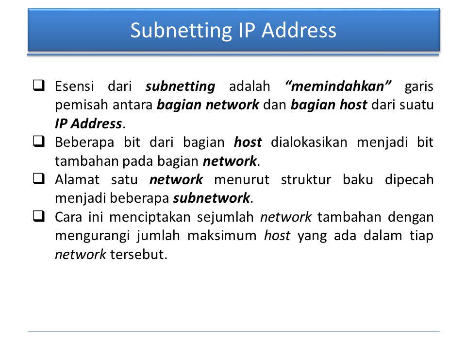Subnetting IP Address 11111111.11111111.11111111.11000000 network host network host ---- SUBNETTING 26 BIT ---- ---- TANPA SUBNETTING ----