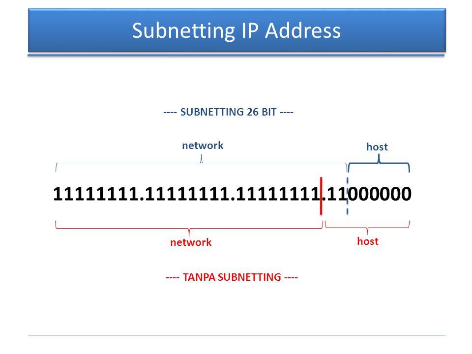 Contoh Penghitungan Subnetting Misalnya ditentukan sebuah NETWORK ADDRESS : 192.168.1.0/26.