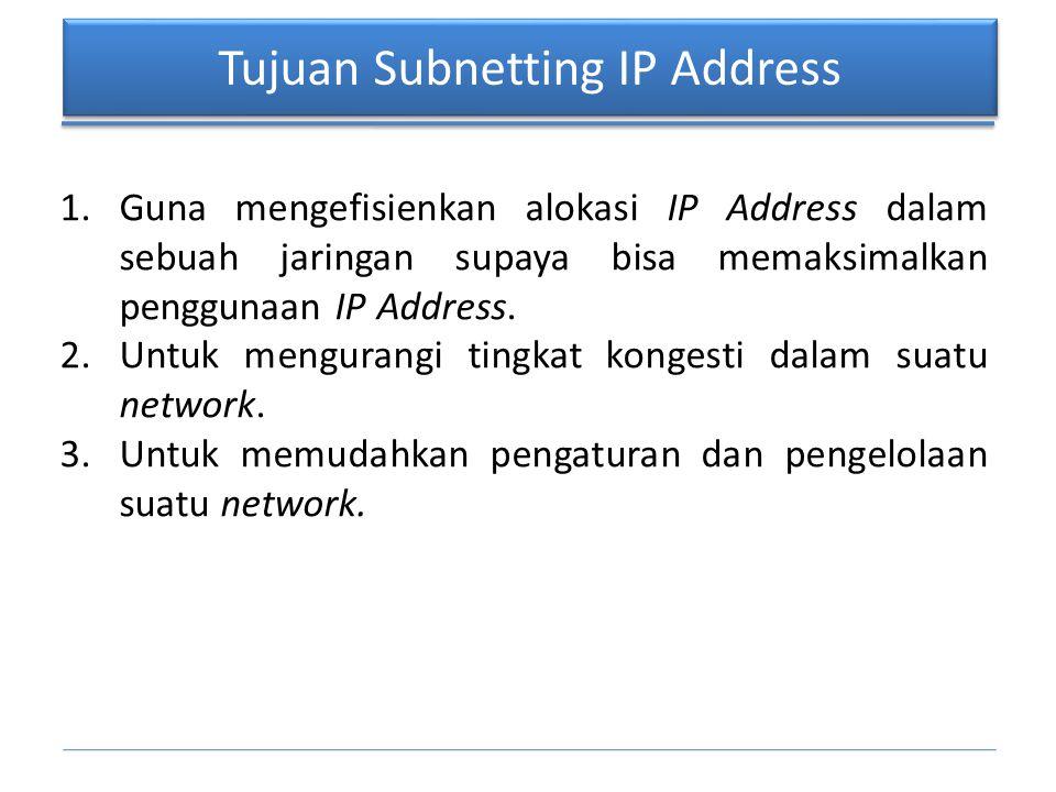 Tujuan Subnetting IP Address 1.Guna mengefisienkan alokasi IP Address dalam sebuah jaringan supaya bisa memaksimalkan penggunaan IP Address. 2.Untuk m
