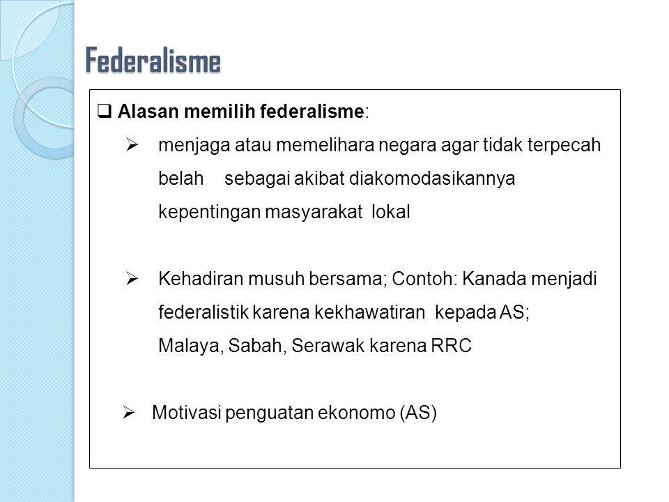 Federalisme  Di dlm federalisme, kedaulatan diperoleh dari unit2 politik yg terpisah dan kemudian sepakat membentuk sebuah pemerintahan bersama  Sementara di dlm pemerintahan yg unitaristik kedaulatan langsung bersumber dari seluruh penduduk dalam negara tersebut.