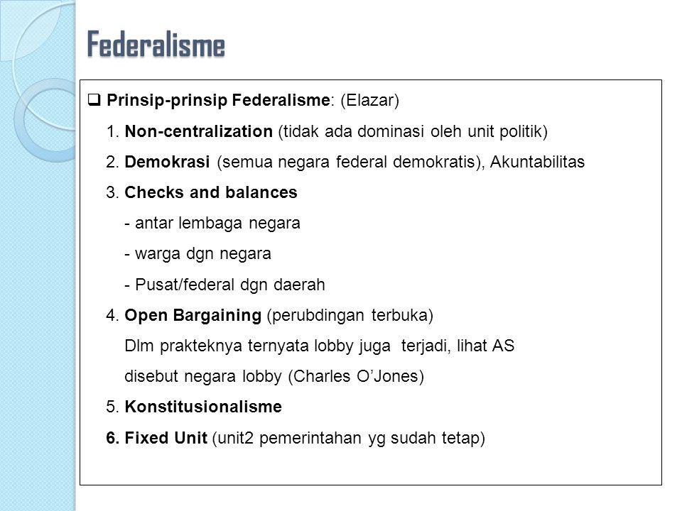 Federalisme  Alasan memilih federalisme:  menjaga atau memelihara negara agar tidak terpecah belah sebagai akibat diakomodasikannya kepentingan masyarakat lokal  Kehadiran musuh bersama; Contoh: Kanada menjadi federalistik karena kekhawatiran kepada AS; Malaya, Sabah, Serawak karena RRC  Motivasi penguatan ekonomo (AS)