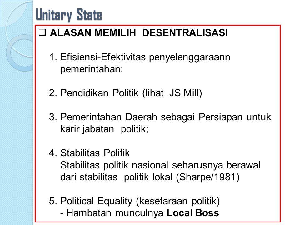 Unitary State: Pilihan Desentralisasi John Stuart Mill (Representative Government): Dengan adanya pemerintahan daerah maka hal itu kan menye diakan kesempatan bagi warga masyarakat berpartisipasi politik…….