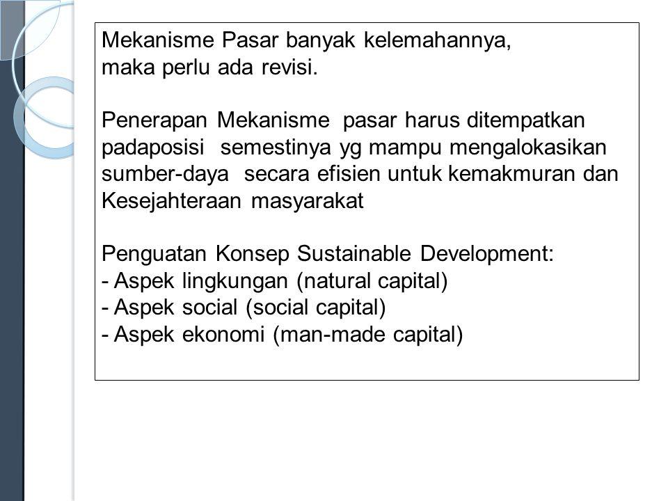 EkonomiKemakmuran Mekanisme Pasar SosialSocial Capital Partisipasi LingkunganKelestarian Natural Capital PolitikPengambilan Keputusan yang bersih dari