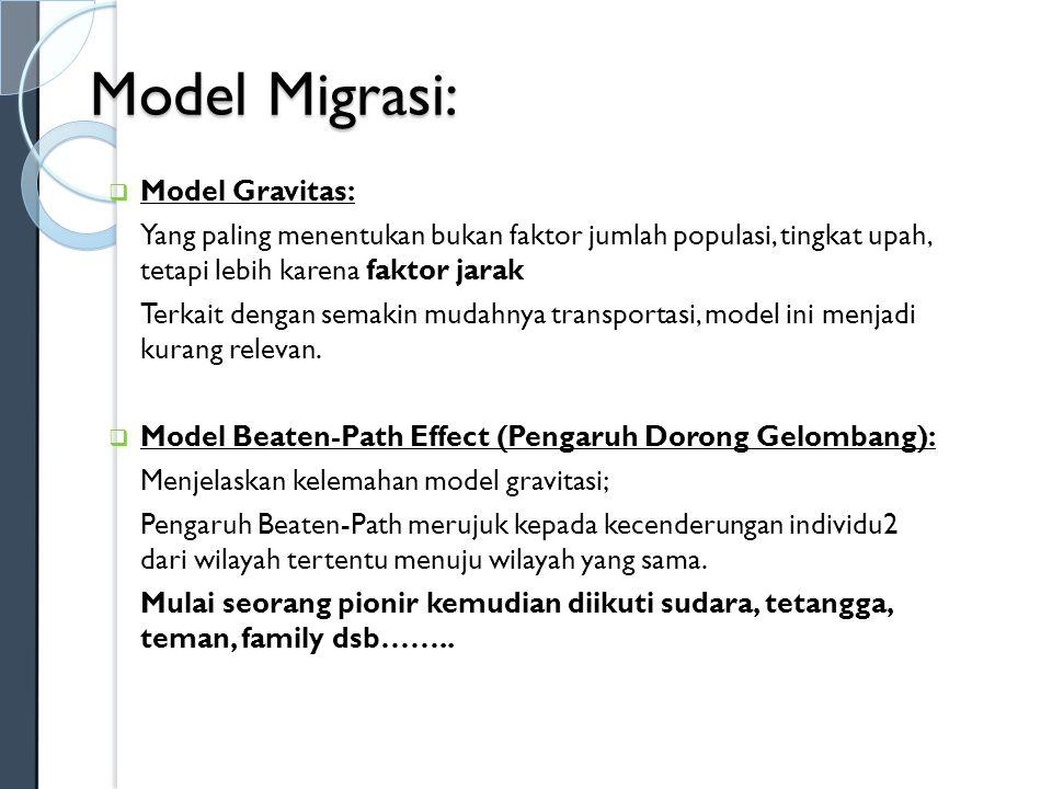 Model Migrasi:  Haris Todaro: Migrasi terjadi karena adanya perbedaan tingkah upah; Semakin tinggi upah di kota dinaikan berarti semakin besar expected wage dan semakin timpang dibandingkan nominal wage di pedesaan.