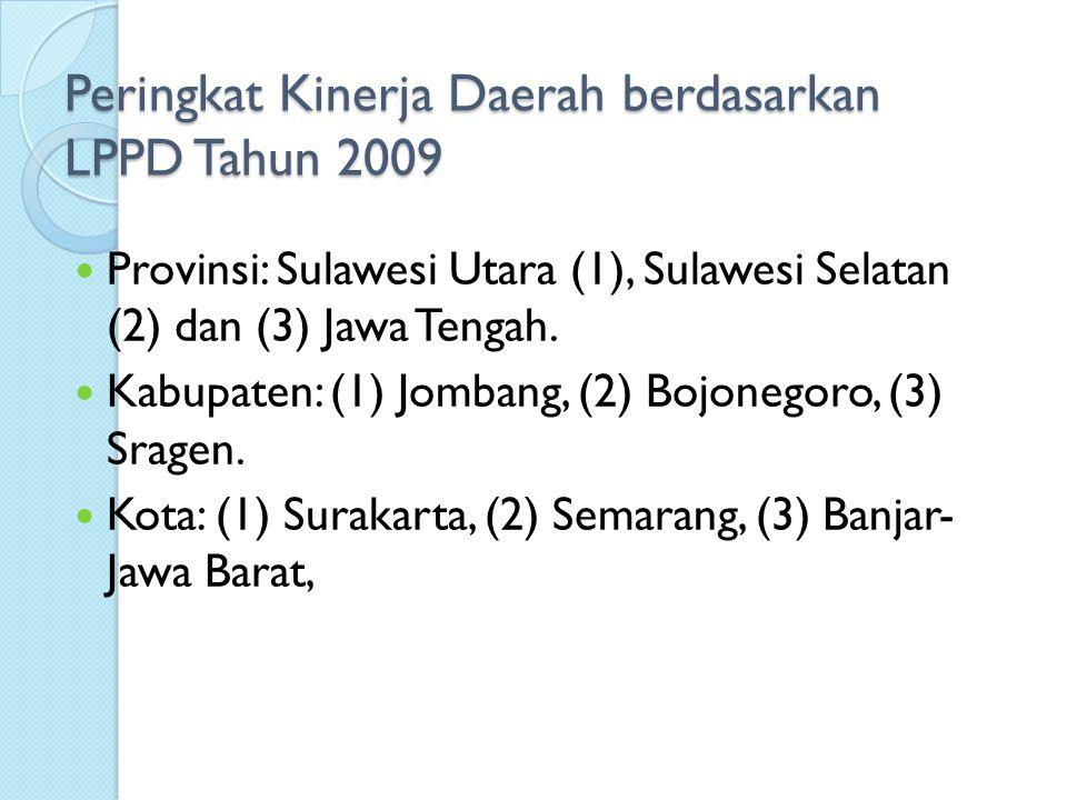 Peringkat Kinerja Daerah berdasarkan LPPD Tahun 2007 Provinsi: Jawa Tengah (1), Sumatera Utara (2) dan Sulawesi Selatan (3) Kabupaten: (1) Sragen, (2) Purbalingga, (3) Deli Serdang, (4) Boyolali, (5) Wonosobo, (6) Banyumas, (7) Sukoharjo, (8) Klaten, (9) Jembrana, dan (10) Bengkalis.