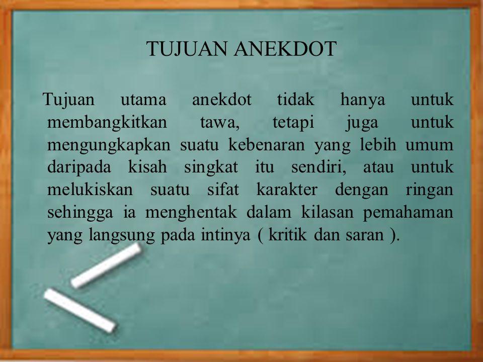 Struktur Anekdot Teks anekdot pada umumnya terdiri dari 5 struktur.