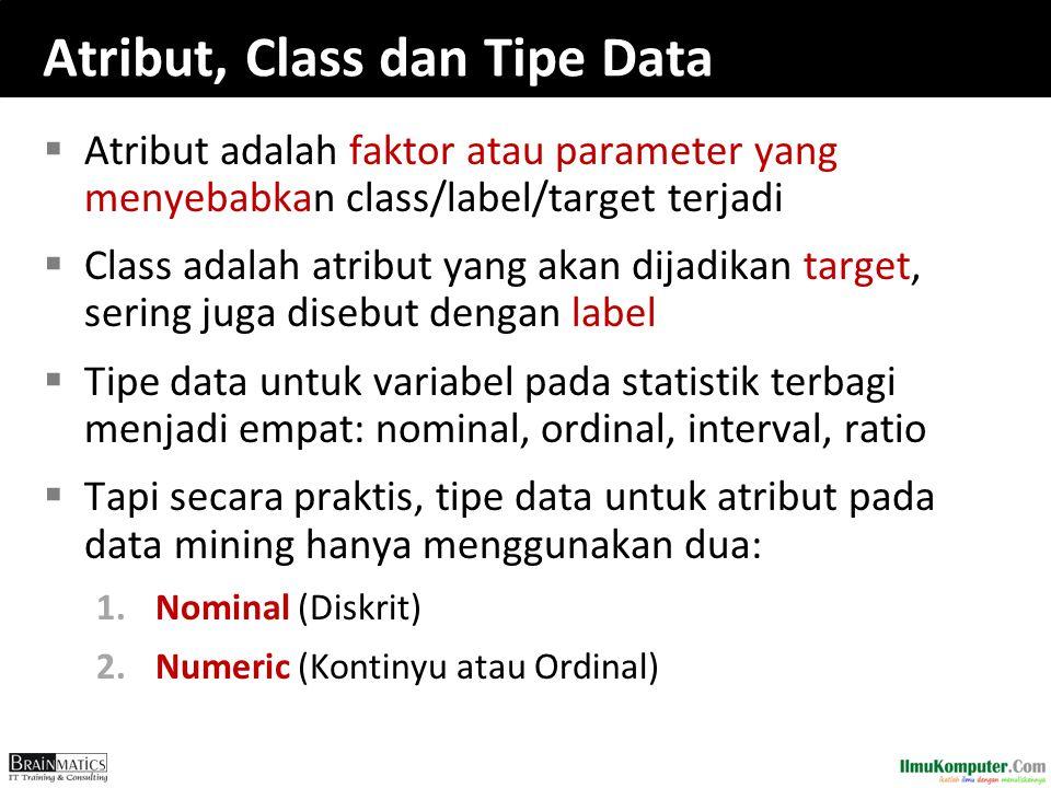 Atribut, Class dan Tipe Data  Atribut adalah faktor atau parameter yang menyebabkan class/label/target terjadi  Class adalah atribut yang akan dijad