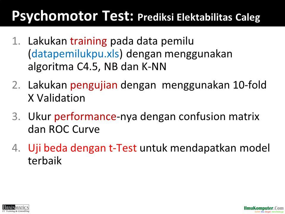 Psychomotor Test: Prediksi Elektabilitas Caleg 1.Lakukan training pada data pemilu (datapemilukpu.xls) dengan menggunakan algoritma C4.5, NB dan K-NN
