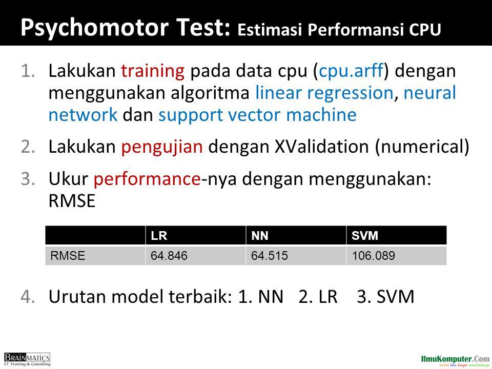 Psychomotor Test: Estimasi Performansi CPU 1.Lakukan training pada data cpu (cpu.arff) dengan menggunakan algoritma linear regression, neural network