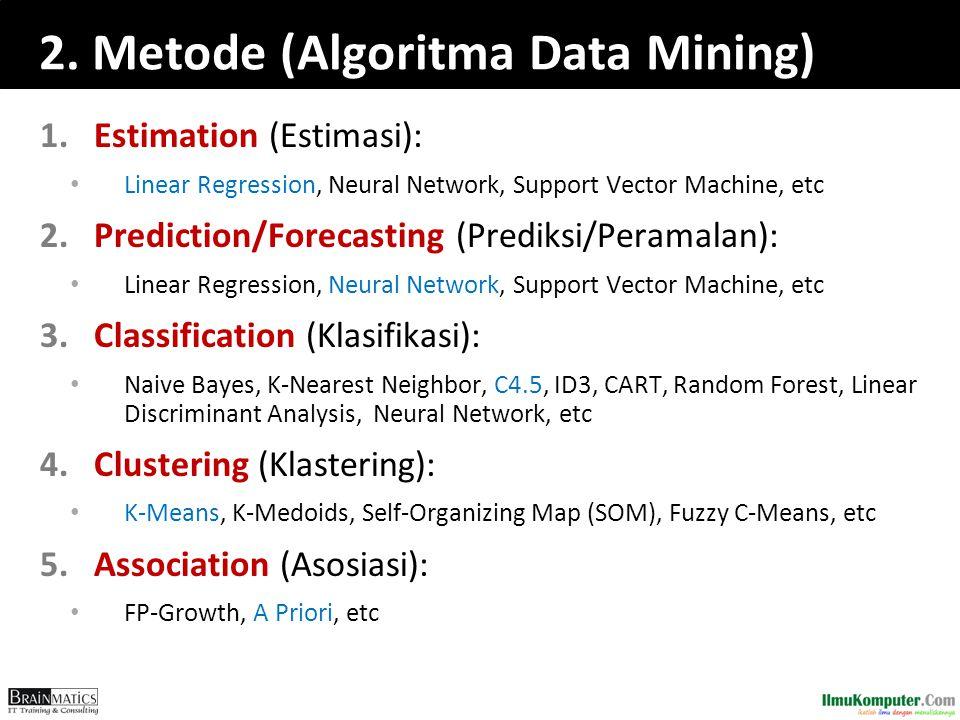 2. Metode (Algoritma Data Mining) 1.Estimation (Estimasi): Linear Regression, Neural Network, Support Vector Machine, etc 2.Prediction/Forecasting (Pr