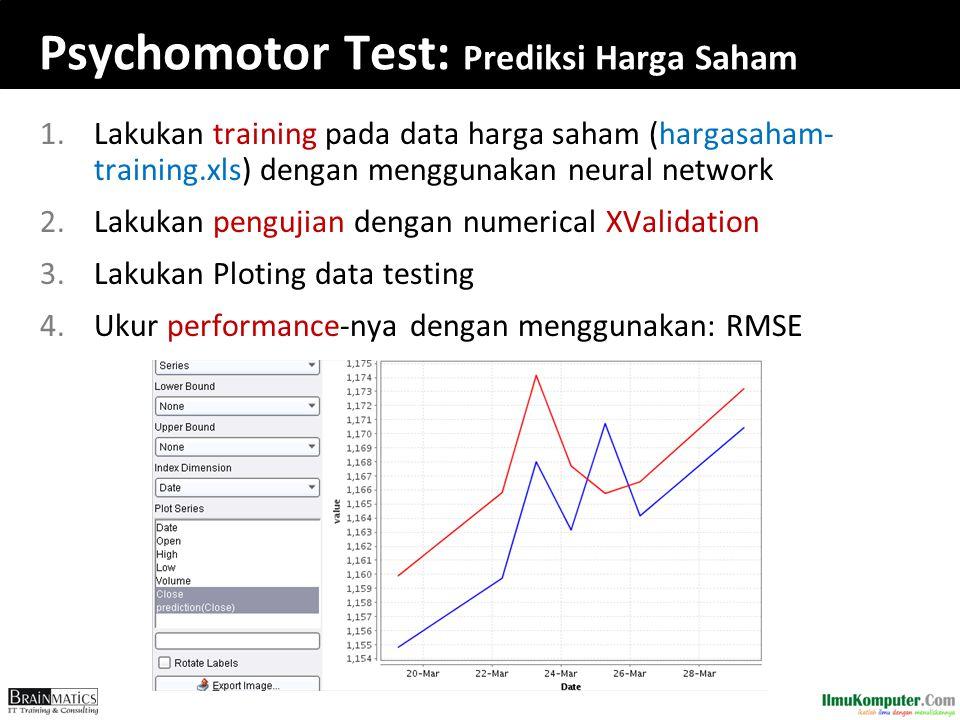 Psychomotor Test: Prediksi Harga Saham 1.Lakukan training pada data harga saham (hargasaham- training.xls) dengan menggunakan neural network 2.Lakukan