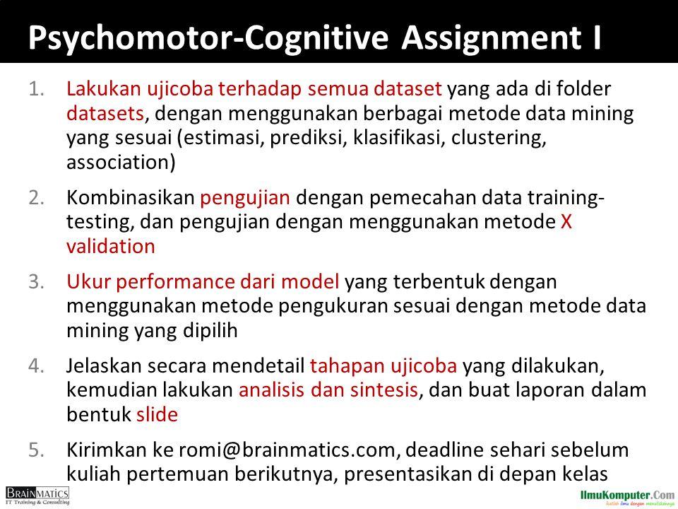 Psychomotor-Cognitive Assignment I 1.Lakukan ujicoba terhadap semua dataset yang ada di folder datasets, dengan menggunakan berbagai metode data minin