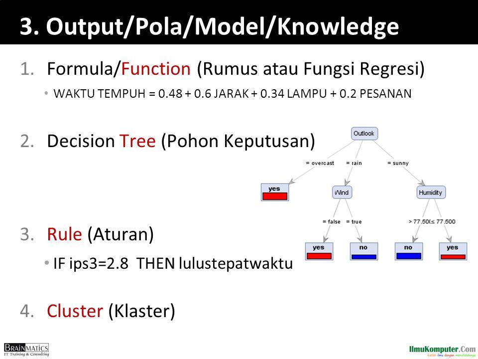 1.Formula/Function (Rumus atau Fungsi Regresi) WAKTU TEMPUH = 0.48 + 0.6 JARAK + 0.34 LAMPU + 0.2 PESANAN 2.Decision Tree (Pohon Keputusan) 3.Rule (At