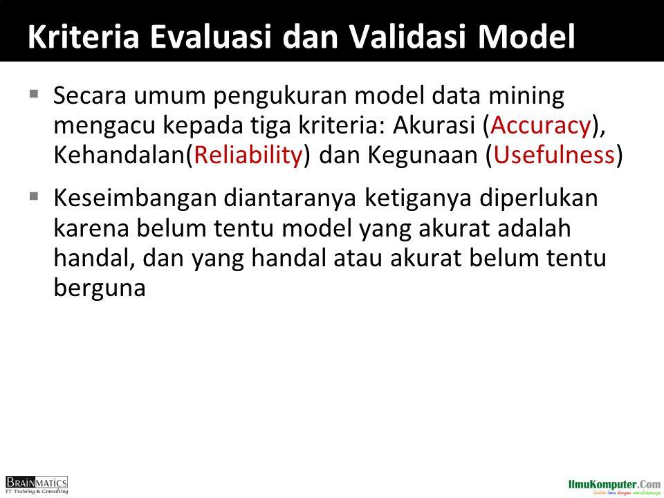 Kriteria Evaluasi dan Validasi Model  Secara umum pengukuran model data mining mengacu kepada tiga kriteria: Akurasi (Accuracy), Kehandalan(Reliabili